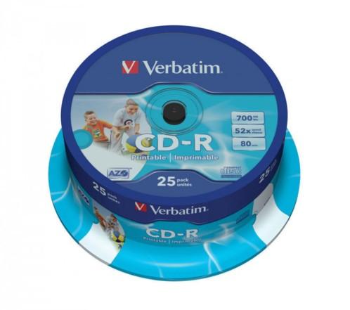 CD-R Verbatim AZO Wide Inkjet Printable (x25)