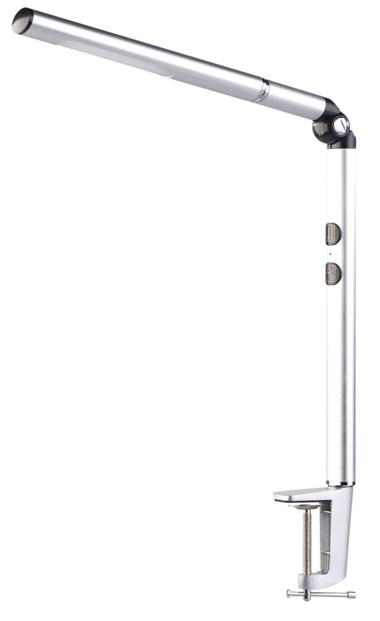 lampe de bureau avec design moderne et fixation pince ou pied mode lampe de poche et couleur lumiere reglable lunartec