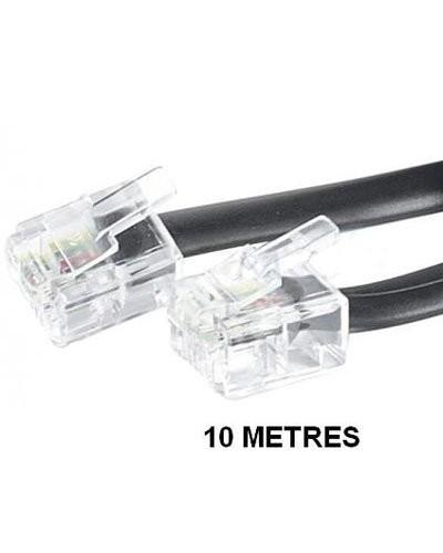 Câble téléphonique RJ11 Noir - 10m