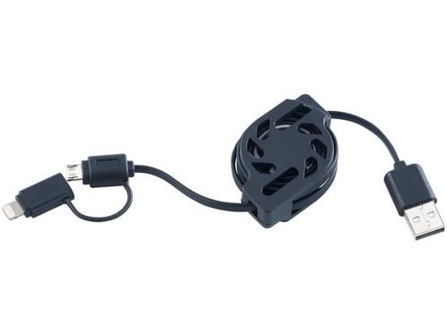 Câble 2 en 1 USB vers Micro-USB et 8 broches avec enrouleur