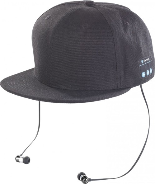 Casquette Snapback avec casque Bluetooth - Noir