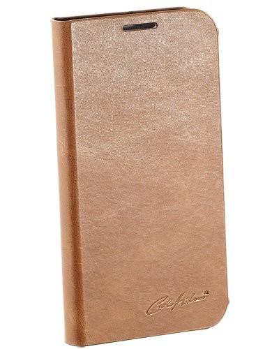 Étui folio en cuir véritable avec range-cartes pour Galaxy S4 - Brun