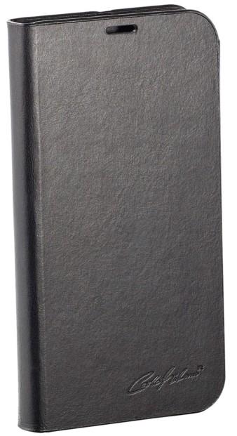 Étui folio en cuir véritable avec range-cartes pour Galaxy S5 - Noir