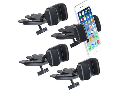 4 supports pour smartphone sur lecteur CD voiture