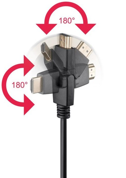 Câble HDMI 4K High Speed Ethernet avec connecteurs 360° - 5m