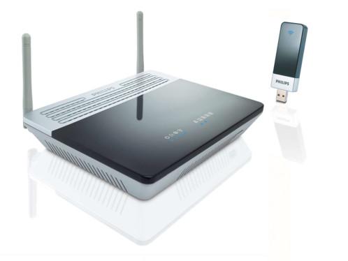 Kit Philips modem routeur ADSL wifi + clé USB N-Draft