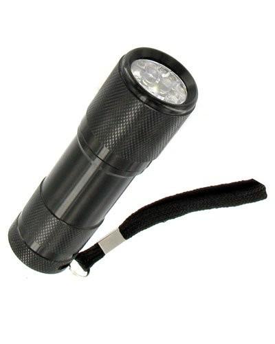 Mini lampe de poche noire - 9 LED
