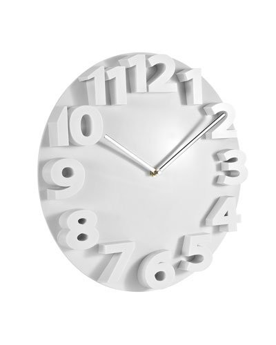 achat vente horloge murale chiffres en relief blanc. Black Bedroom Furniture Sets. Home Design Ideas