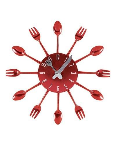 Achat newave horloge murale 39 39 fourchettes cuill res for Horloge murale cuisine rouge