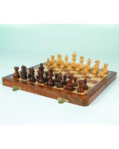 jeu d 39 checs complet en bois avec chiquier pliable 38 cm. Black Bedroom Furniture Sets. Home Design Ideas
