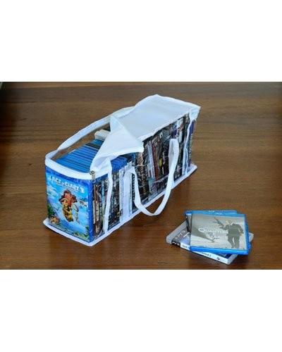 pochette de rangement dvd 37 dvd sac blanc en pvc et polyester. Black Bedroom Furniture Sets. Home Design Ideas
