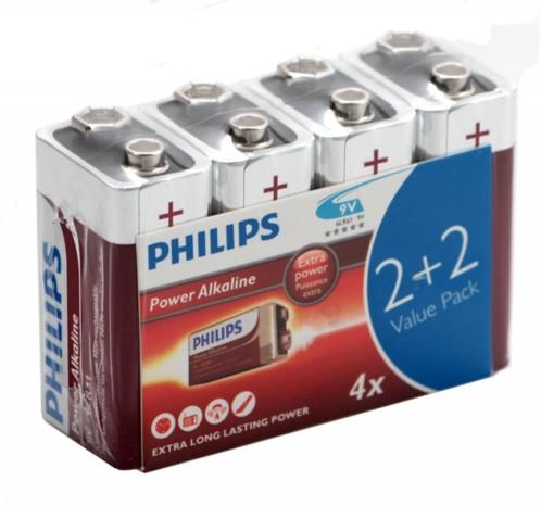 Pack de 4 Piles bloc 9V Philips
