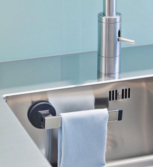 Portechiffon et lavette avec ventouse pour évier de cuisine  Pearlfr # Shifon Wasbak_012851