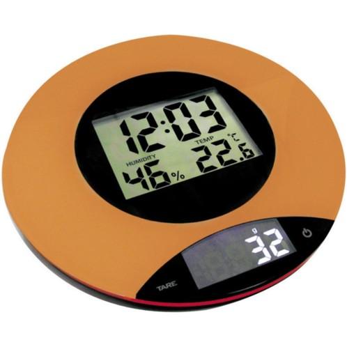 Balance de cuisine 4 en 1 avec horloge, thermomètre et hygromètre ...