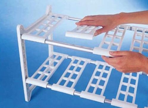 étagère basse en plastique à largeur réglable ruco v640