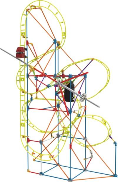 jeu de construction mecanique motorisé pour enfant roller coaster montagnes russes k'nex