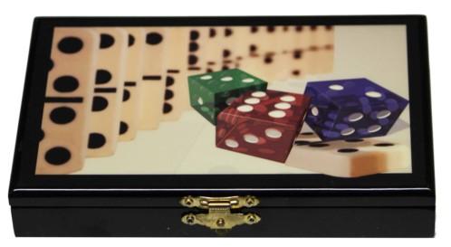 boite en bois style marqueterie avec jeu de dominos motif dominos et dés de couleur