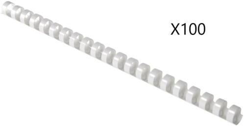Pack de 100 peignes de reliure format A4 - 6 mm - Blanc