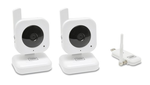 pack de 2 mini caméras de surveillance sans fil à poser avec clé USB 2,4 ghz trebs confortcam 99501