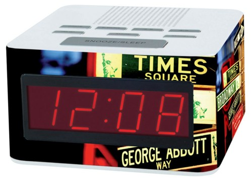 Radio-Réveil FM à grands chiffres, motif New York