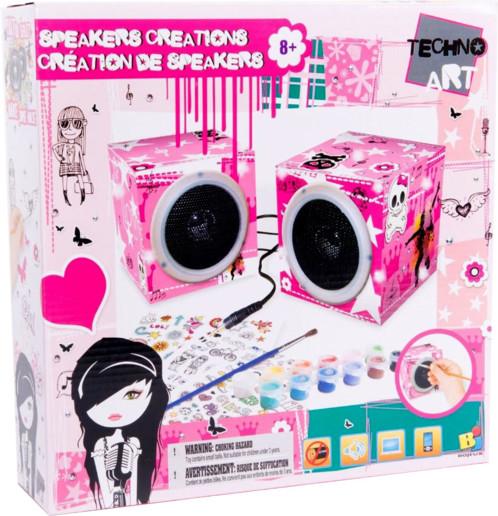 Speakers audio stéréo customisables pour fille avec peinture et stickers