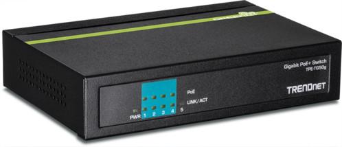 switch poe+ gigabit 5 ports trendnet tpe-tg50g