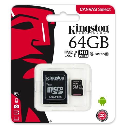 Carte Micro SD avec adaptateur Kingston Canvas Select 64 Go