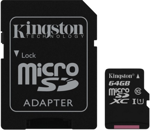 Carte Micro SD avec adaptateur Kingston Canvas Select 64 Go