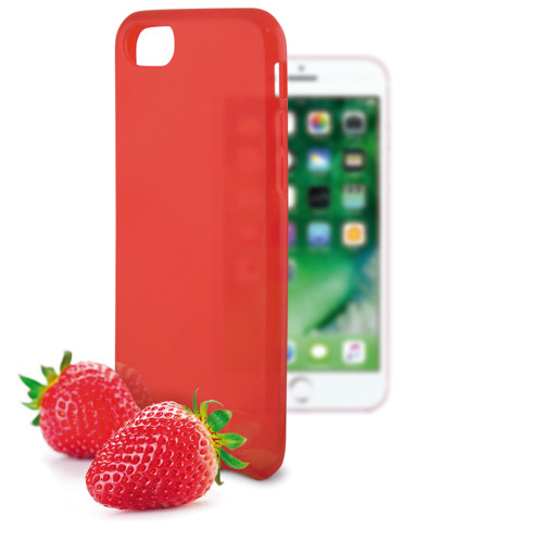 coque souple rouge pour iphone 7 7s avec odeur fraise ksix sense