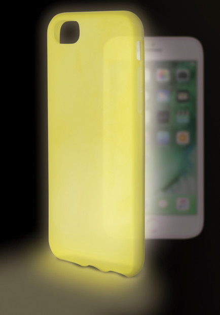 coque de protection iphone 7 7s jaune phosphorescente dans la nuit Ksix Sense