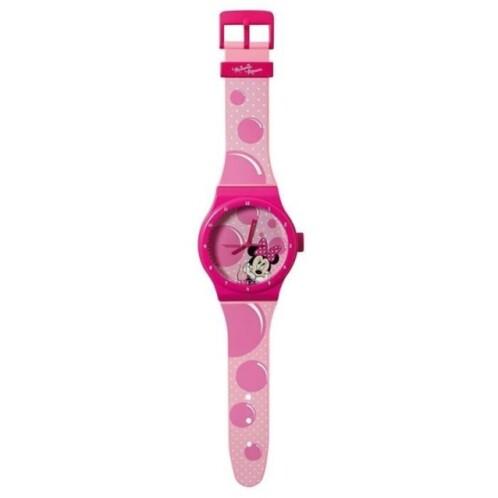 horloge murale forme montre pour chambre de fille minnie rose disney