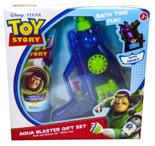 pack pistolet a eau avec cible buzz l'éclair toy story avec gel douche 150 ml