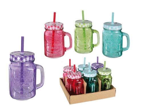 pack de 6 verres retro avec couvercles et paille rouge vert bleu violet