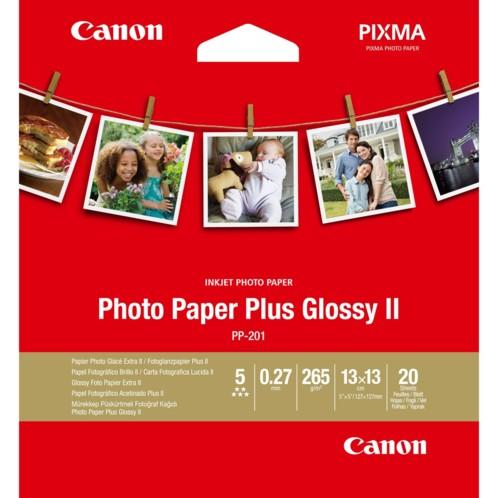 pochette de papier photo brillant format carré 13 x 13 cm pp-201 pour imprimantes canon mg