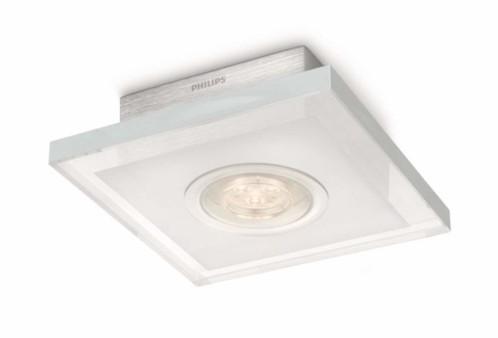 plafonnier carré en aluminium brossé compatible variateur avec led intégrée philips ledino