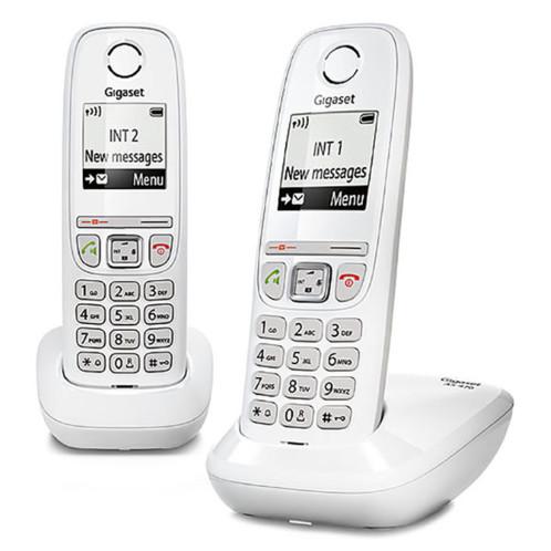 Téléphone fixe sans fil DECT Gigaset AS470 Duo - Blanc