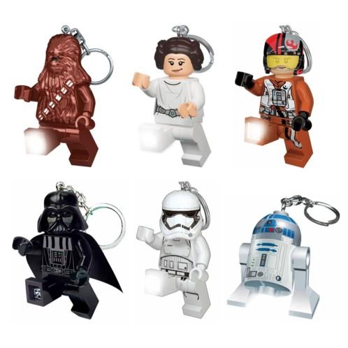 Lot de 6 porte-clés LEGO Star Wars.