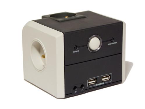 multiprise cubique de bureau avec parasurtenseur et relais micro et casque audio chacon