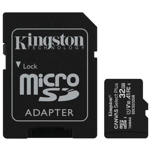 Carte microSDHC Kingston Canvas Select Plus de 32 Go.