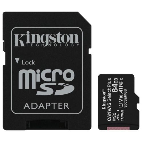Carte microSDXC Kingston Canvas Select Plus de 64 Go.