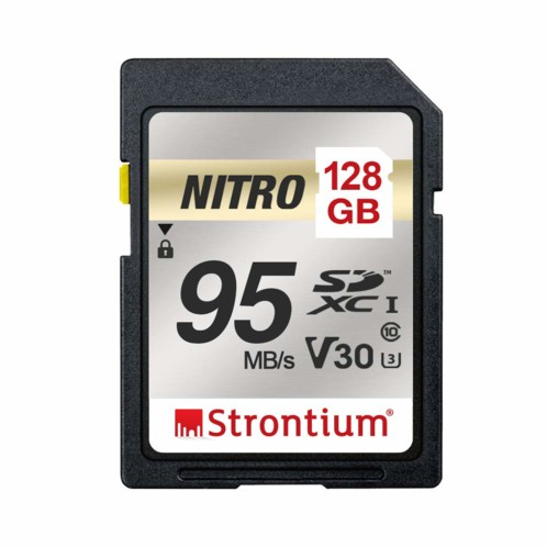 Carte SDXC Strontium Nitro U1 de 128 Go.