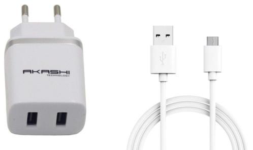 Chargeur USB secteur 2x 2,4 A  - Blanc - Avec câble Micro USB