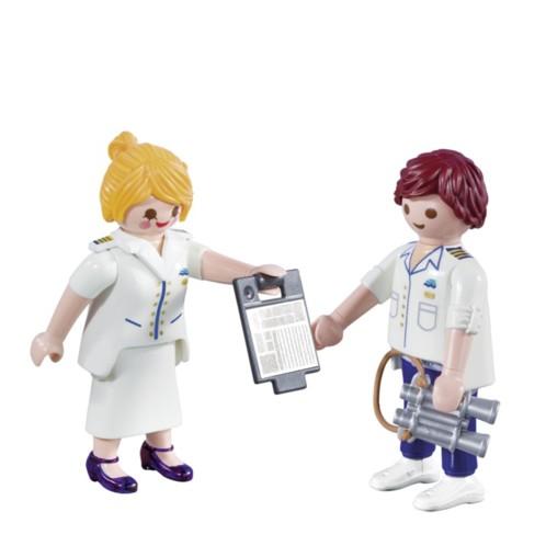 Duo officier et hôtesse de croisière Playmobil.