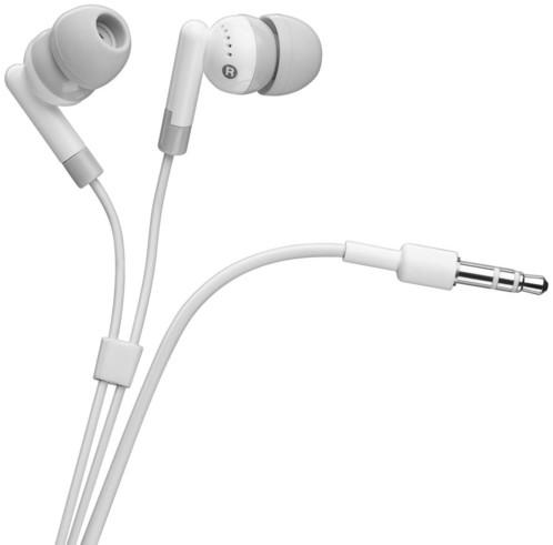 Écouteurs intra-auriculaires Goobay blancs.