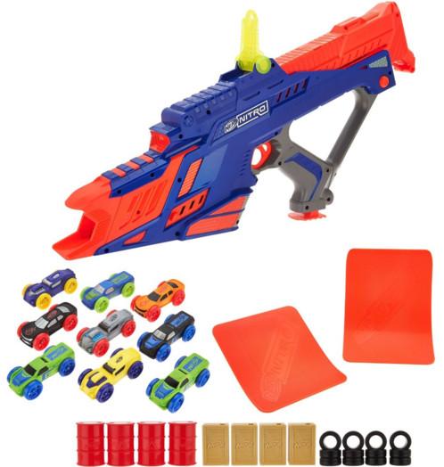 pistolet nerf nitro motofury avec voiturettes propulsées et tremplins et obstacles stunt