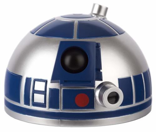 reveil matin pour enfant tete de r2d2 star wars avec projection heure en bleu