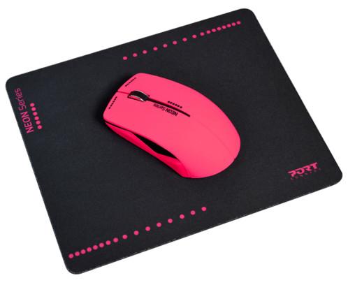Souris optique sans fil Neon avec tapis - Rose fluo