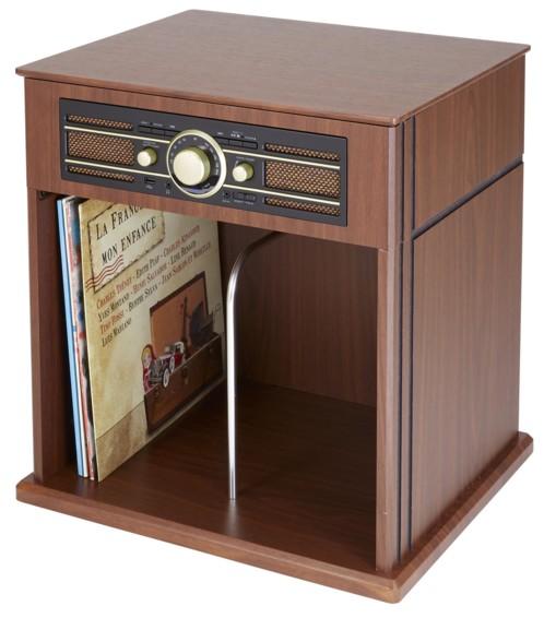 platine vinyle retro vintage en bois laqué bigben td104 avec rangement pour disques 33 45 tours