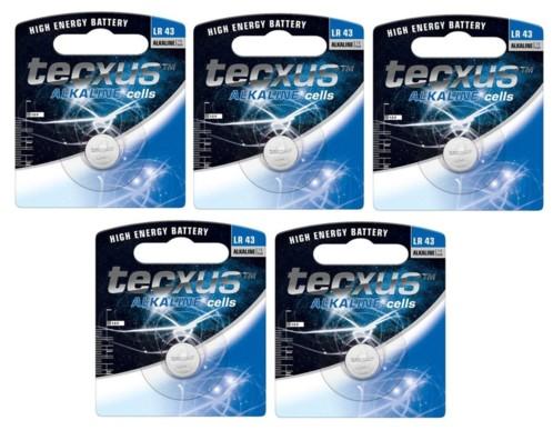 Lot de 5 piles bouton LR43 de 1,5 V par Tecxus.