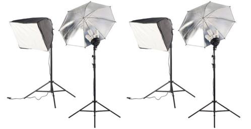 2 boîtes à lumière avec parapluie réflecteur